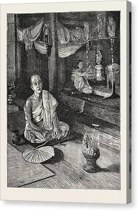 A Call To Worship Interior Of Buddhist Monastery Canvas Print by English School
