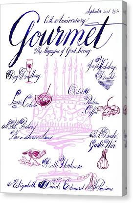 2001 Canvas Print - A Calligraphy Illustration Celebrating Sixty by Elvis Swift