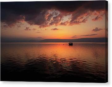A Calm Settles On The Sea Of Galilee Canvas Print by Reynold Mainse