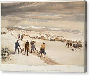 A Camp In The Snow Canvas Print