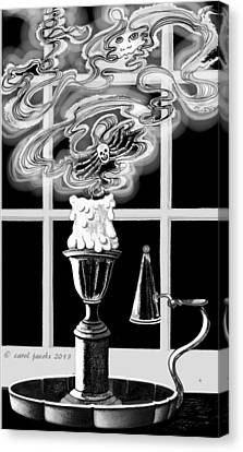 Canvas Print featuring the digital art A Candle Snuffed by Carol Jacobs