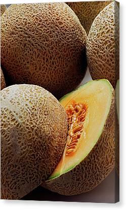Cantaloupe Canvas Print - A Cantaloupe Sliced In Half by Romulo Yanes