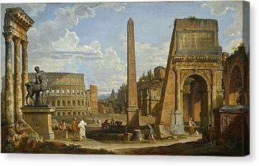 A Capriccio View Of Roman Ruins, 1737 Canvas Print by Giovanni Paolo Pannini or Panini