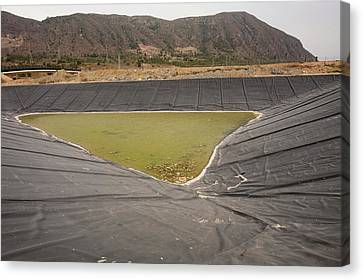 A Capture Pond On A Landfill Site Canvas Print by Ashley Cooper