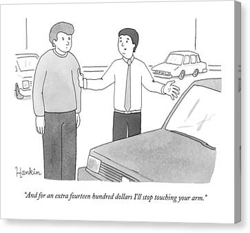Creepy Canvas Print - A Car Salesman Speaks With A Customer Whilst by Charlie Hankin