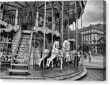 A Carousel Scene In Paris Canvas Print