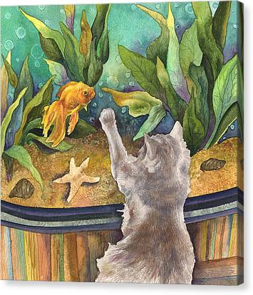 A Cat And A Fish Tank Canvas Print by Anne Gifford