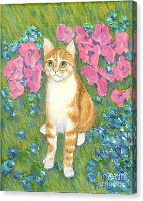 A Cat And Meadow Flowers Canvas Print