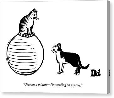 A Cat Stands On A Large Exercise Ball Canvas Print by Drew Dernavich