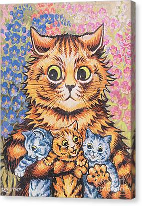 A Cat With Her Kittens Canvas Print by Louis Wain