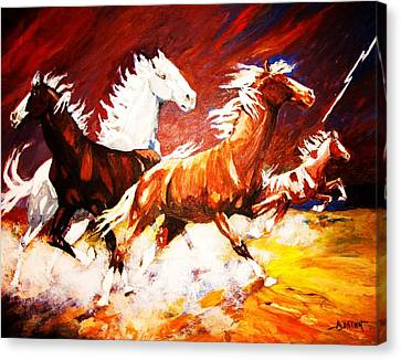 Canvas Print featuring the painting A Cause For Alarm by Al Brown