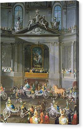 A Cavalcade In The Winter Riding School Of The Vienna Hof To Celebrate The Defeat Of The French Canvas Print by Martin II Mytens or Meytens