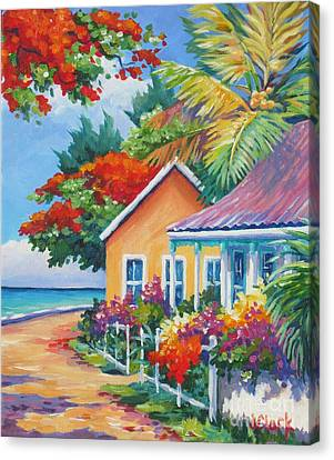 A Cayman Street In Summer Canvas Print by John Clark