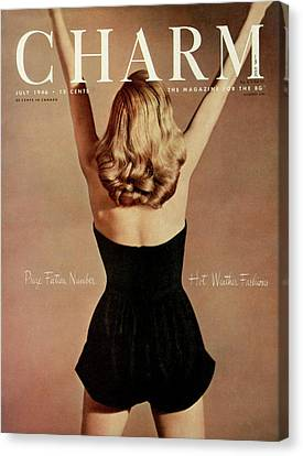 A Charm Cover Of A Model Wearing A Romper Canvas Print