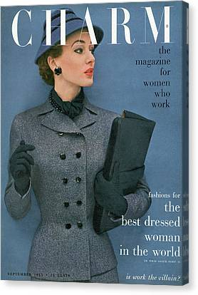 Cloche Hat Canvas Print - A Charm Cover Of A Model Wearing A Tweed Suit by Carmen Schiavone