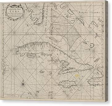 A Chart Of Cuba Canvas Print by British Library