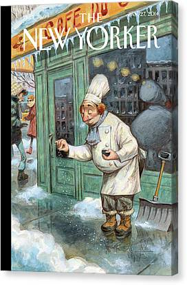 Seasons Canvas Print - A Chef Lightly Pinches Salt On The Sidewalk by Peter de Seve