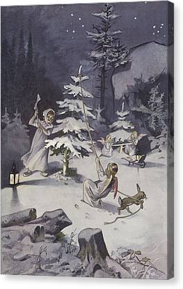 A Cherub Wields An Axe As They Chop Down A Christmas Tree Canvas Print