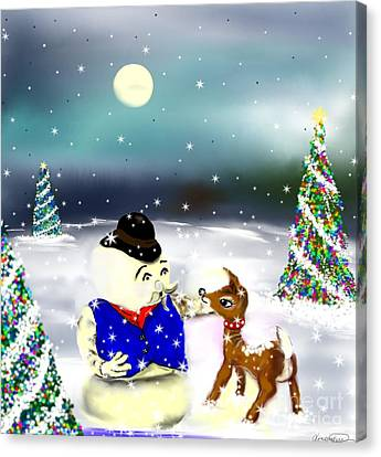 Canvas Print featuring the painting A Christmas Night by Lori  Lovetere