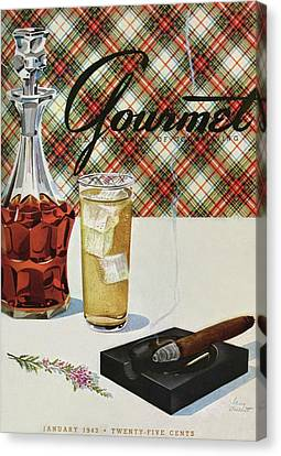 A Cigar In An Ashtray Beside A Drink And Decanter Canvas Print