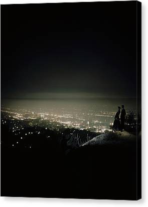 A City At Night Canvas Print by Constantin Joffe