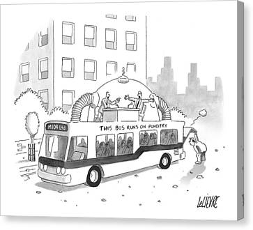 A City Bus Is Seen With A Rooftop Bubble Canvas Print by Glen Le Lievre