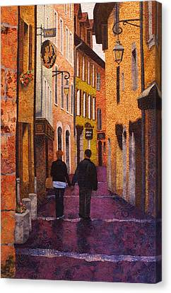 A City Walk In Spring Canvas Print by Lenore Crawford