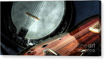A Classic Pairing Digital Guitar And Banjo Art By Steven Langston Canvas Print by Steven Lebron Langston