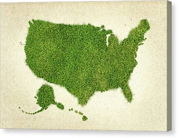 United State Grass Map Canvas Print by Aged Pixel