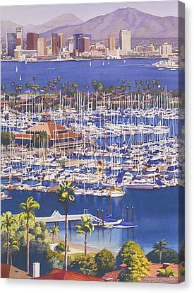 City Scenes Canvas Print - A Clear Day In San Diego by Mary Helmreich
