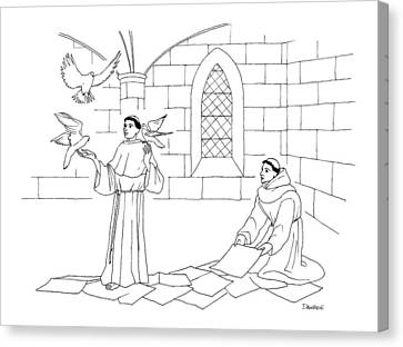 A Clergyman Handles Three Doves/pigeons Canvas Print by Dan Roe