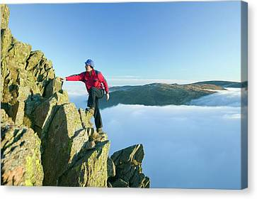 A Climber On Red Screes Canvas Print by Ashley Cooper