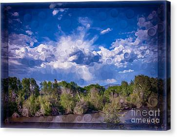 A Cloudy Afternoon Abstract Landscape Painting Canvas Print by Omaste Witkowski