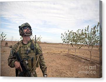 A Coalition Force Member Looks For Air Canvas Print by Stocktrek Images
