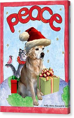 Canvas Print featuring the digital art A Cocker Spaniel's Christmas Greeting Card by Polly Peacock