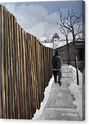 A Cold Day In Pointe St. Charles Canvas Print by Reb Frost