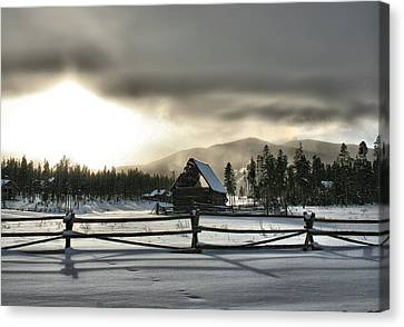 A Cold Retired Barn Canvas Print by Rebecca Adams