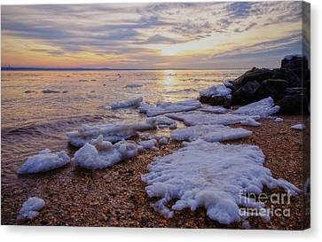 Canvas Print featuring the photograph A Cold Sandy Hook Winter by Debra Fedchin