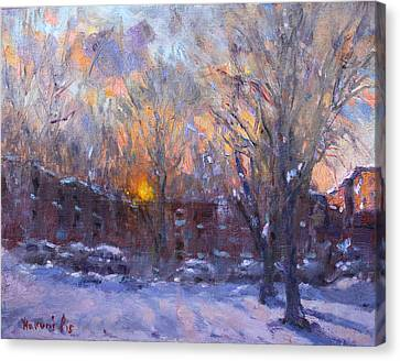 Parking Canvas Print - A Cold Winter Sunset  by Ylli Haruni