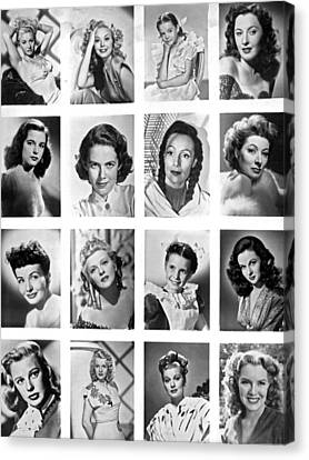 A Collage Of Movie Starlets Portraits Canvas Print by Underwood Archives