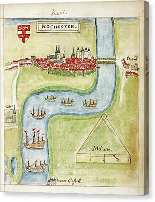 A Coloured Plan Of Rochester Canvas Print by British Library