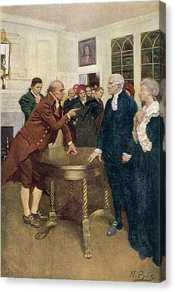 Brandywine Canvas Print - A Committee Of Patriots Delivering An Ultimatum To A Kings Councillor, Illustration From A Sign by Howard Pyle