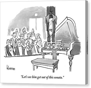 A Concert Pianist Hangs Upside Canvas Print
