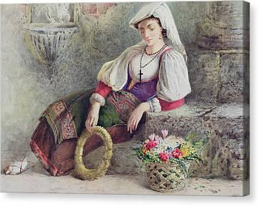 A Contadina Reposing Canvas Print by William Linnaeus Casey