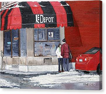 A Conversation Near Le Depot Canvas Print by Reb Frost