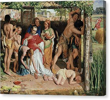 A Converted British Family Sheltering A Christian Missionary From The Persecution Of The Druids Canvas Print by William Holman Hunt