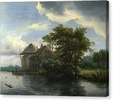 A Cottage And A Hayrick By A River Canvas Print by Jacob Isaacksz van Ruisdael