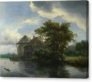 A Cottage And A Hayrick By A River Canvas Print by Jacob van Ruisdael