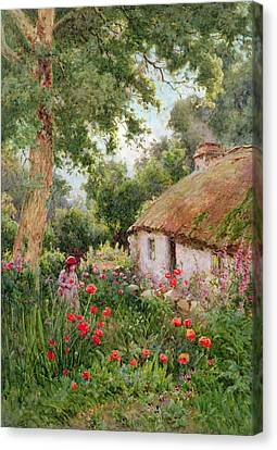 Picker Canvas Print - A Cottage Garden by Tom Clough
