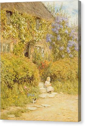 A Cottage Near Crewkerne  Canvas Print by Helen Allingham